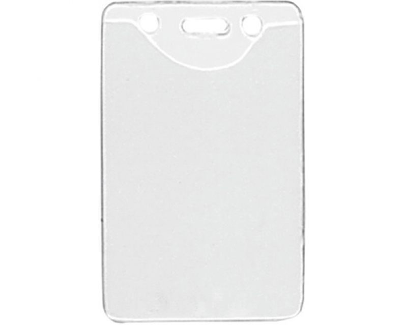 Vinyl badge holder vertical clear with structure 86 x 58 mm