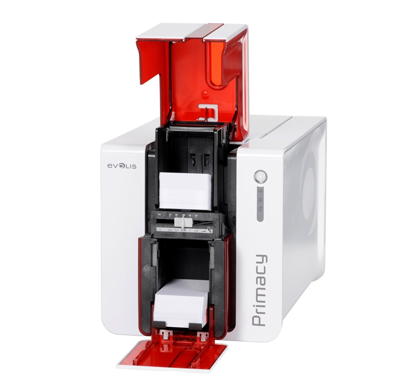 Evolis Primacy Simplex Red ID Card Printer open front